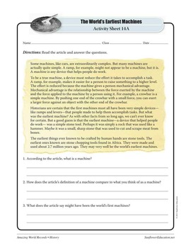 EARLIEST MACHINES: STONE TOOLS—History Worksheets and Activities