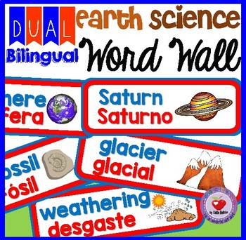 EARTH AND SPACE SCIENCE WORD WALL- DUAL BILINGUAL