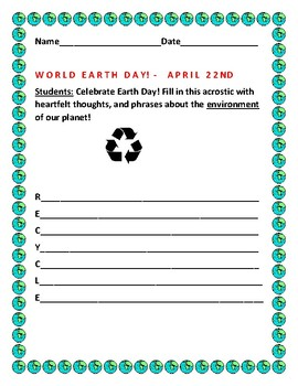 EARTH DAY ACROSTIC ACTIVITY