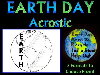 EARTH DAY ACROSTIC POEM - 7 formats to choose from WRITING K 1 2 3