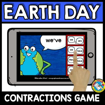 EARTH DAY ACTIVITIES GRADE 1 (CONTRACTIONS 2ND GRADE) GRAMMAR BOOM CARDS