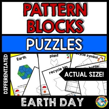 EARTH DAY ACTIVITY KINDERGARTEN, 1ST GRADE PATTERN BLOCKS PUZZLES APRIL MATH