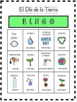 EARTH DAY BINGO/ BILINGUAL/SPANISH BINGO