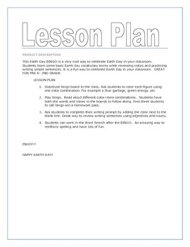 RECYCLING BINGO- Pre K -4 - Writing Prompt