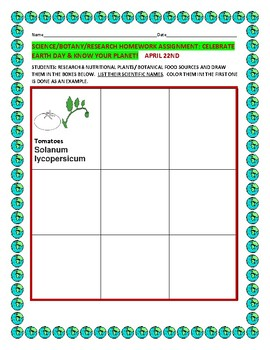 EARTH DAY: BOTANY HOMEWORK ASSIGNMENT