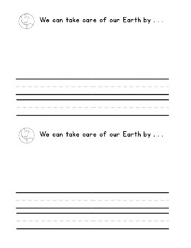 EARTH DAY Book Kindergarten 1st  Guided Reading Writing Center Activity