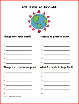 EARTH DAY CATEGORIES: FREEBIE