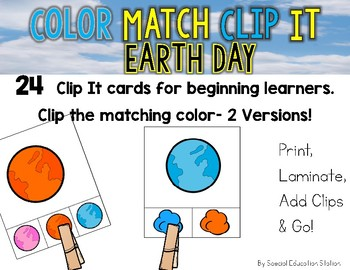 EARTH DAY Color Match Clip It {A Beginning Work Task)