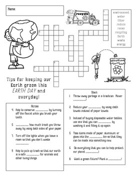 Earth Day Crossword Puzzle and Morning Math Work (UPDATED)