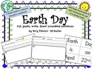 EARTH DAY ~ Cut, Paste, Write, Draw! Scrambled Sentences