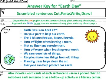 EARTH DAY ~ Cut, Paste, Write, Draw! Scrambled Sentences
