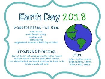 2018 EARTH DAY GRADE 5 MATH TASK CARDS