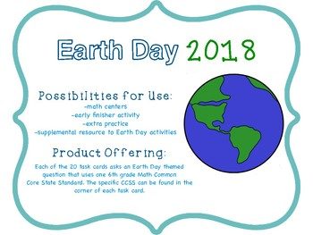 EARTH DAY GRADE 6 COMMON CORE MATH TASK CARDS