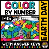 EARTH DAY MATH ACTIVITY COLOR BY NUMBER WORKSHEETS APRIL COLORING PAGES SHEETS