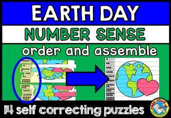 EARTH DAY ACTIVITY KINDERGARTEN MATH CENTER (NUMBER SENSE PUZZLES) SUBITIZING