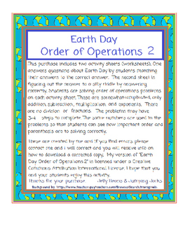 EARTH DAY-Order of Operations 2