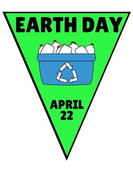 EARTH DAY Pennant Banner (BW & COLOR)