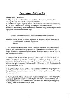 EARTH DAY Printable Book Common Core Lesson Plans  Inc. Graphic Organizer 2 Days