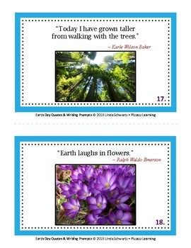 EARTH DAY QUOTES & WRITING PROMPTS •   20 POSTERS • 20 WRITING PROMPTS