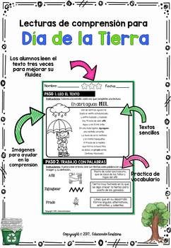 EARTH DAY: Spanish Text Based Evidence Reading Passages/ Dia de la Tierra