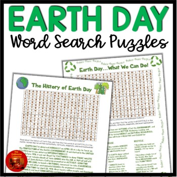 EARTH DAY WORD SEARCH PUZZLES - The History of Earth Day and What We Can Do!