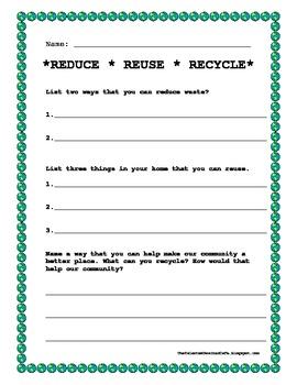 Reuse Worksheet for Thrift Week | Student Handouts