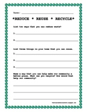 EARTH DAY WORKSHEET REDUCE REUSE RECYCLE