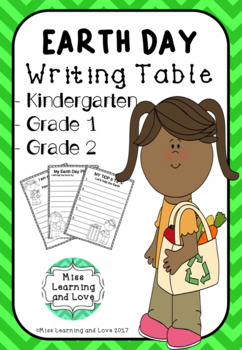 EARTH DAY Writing Center Table PRINTABLES - Kindergarten Grade One 1 Grade Two 2
