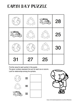 EARTH DAY - algebra puzzles