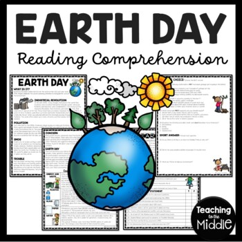 EARTH DAY reading comprehension worksheet, history, homework, recycling