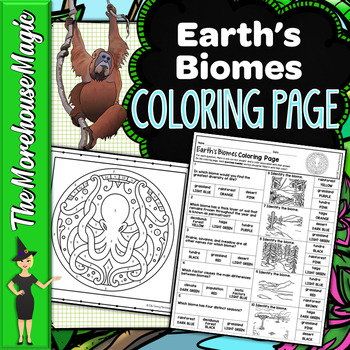 EARTH'S BIOMES SCIENCE COLOR BY NUMBER, QUIZ