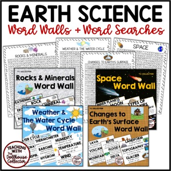 EARTH SCIENCE BUNDLE: 4 WORD WALLS + 4 WORD SEARCHES!