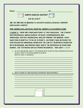 EARTH SCIENCE CONTEST: ON THE NATURE OF MINERALS: MG, GIFTED & TALENTED, 5-8