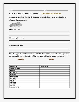 EARTH SCIENCE/ GEOLOGY ACTIVITY: THE WORLD OF ROCKS