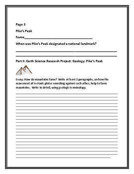 EARTH SCIENCE RESEARCH PROJECT: GEOLOGY: PIKE'S PEAK