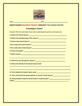 EARTH SCIENCE RESEARCH PROJECT:GEOLOGY: THE GRAND CANYON