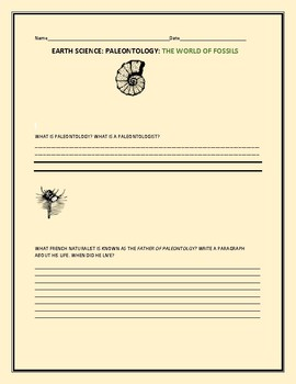 EARTH SCIENCE: THE WORLD OF FOSSILS: A RESEARCH PROJECT