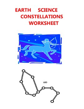 EARTH SCIENCE WORKSHEET - CONSTELLATIONS  STARS ELEMENTARY MIDDLE HIGH