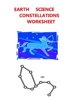 EARTH SCIENCE WORKSHEET - CONSTELLATIONS  STARS ELEMENTARY
