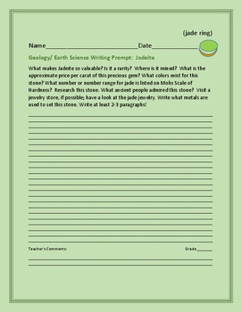 EARTH SCIENCE WRITING PROMPT: JADEITE