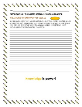 EARTH SCIENCE WRITING RESEARCH PROMPT: GOLD