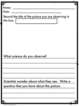 EARTH Science Scenes Writing Prompts and Vocabulary Cards for Centers