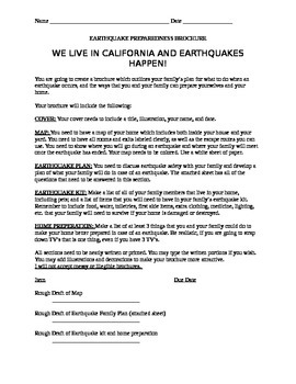 EARTHQUAKE PREPAREDNESS BROCHURE
