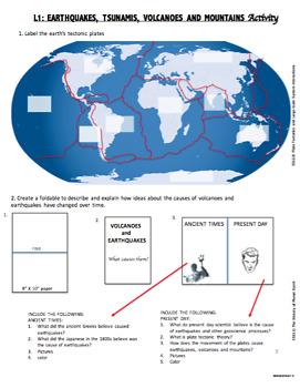 EARTHQUAKES, VOLCANOES AND TSUNAMIS. ACTIVITY PACKET (NGSS ESS1.C, ESS2.B)