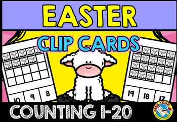 EASTER MATH KINDERGARTEN CENTER (COUNTING LAMBS CLIP CARDS)