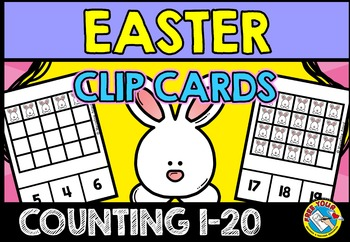 EASTER MATH CENTER KINDERGARTEN (COUNTING EASTER BUNNIES) NUMBERS 1-20 ACTIVITY