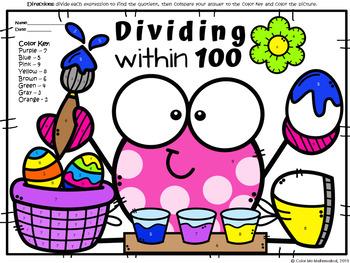 EASTER - 3rd Grade Division Worksheet - Dividing within 100