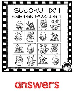 EASTER 4x4 SUDOKU PUZZLES - 3 puzzles