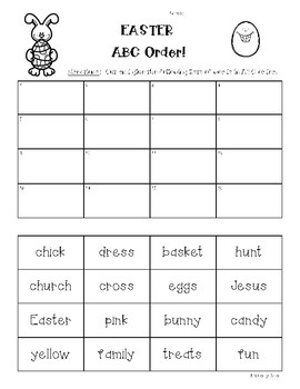 EASTER ABC ORDER - Christian - 16 words - Cut & Paste