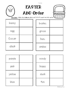 EASTER ABC Order